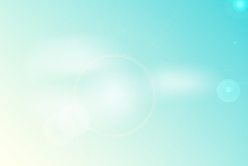 Vector abstract blue clear sky background with blur bokeh and soft light effect, bright magic welkin. White shine with glittering flares and round glare on blue sky. Sunlight with lens flare