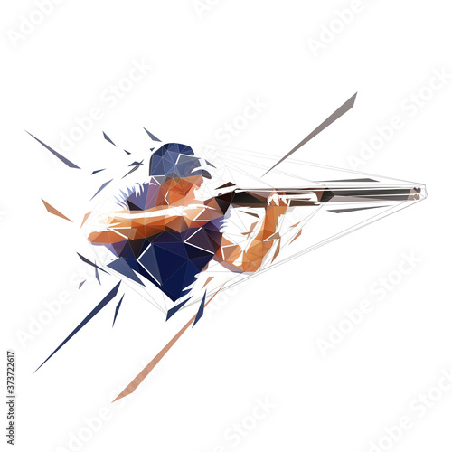 Obraz na plátne Trap shooting, aiming athlete with gun, low polygonal isolated vector illustration