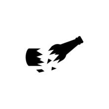 Broken Glass Bottle Icon Isolated Vector On White