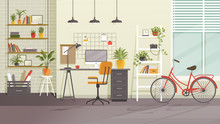 Vector Workplace Modern Design. Home Office, Studio, Cabinet Or Home Workspace Of Frelancer Interior With Desktop, PC Computer, Bookshelves Plants, Furnitures And Bicycle. Contemporary Room Flat Style