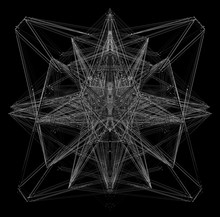 3d Render Of Black And White Monochrome Abstract Art With Surreal Organic Fractal Wire Atomic Metal Spooky Creepy Alien Symmetry Structure Based On Triangle Shape Pattern In The Dark