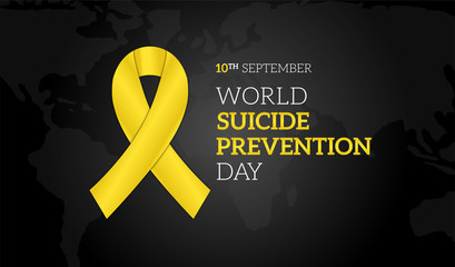 World Suicide Prevention Day Black Background Illustration Banner with Yellow Ribbon