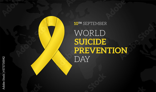 Obraz na płótnie World Suicide Prevention Day Black Background Illustration Banner with Yellow Ri