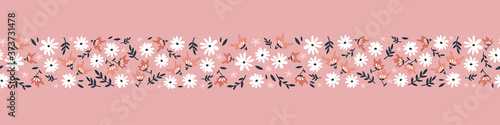 Cute hand drawn floral ditsy seamless pattern, lovely flower background, great for textiles, banners, wallpaper - vector design - 373731478