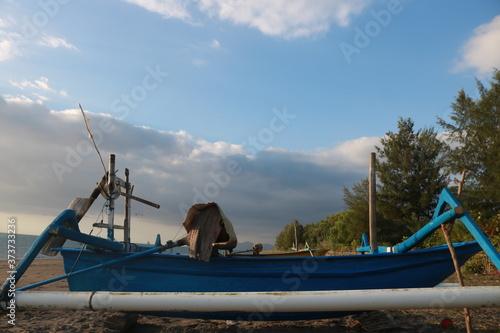 Fototapeta Sampan is the traditional fishing boat in Lombok Indonesia