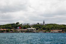 Panoramic Shot Of The Old Town Istanbul, Turkey. The Topkapi Palace, Eminonu, Sarayburnu, Sepetciler Palace And The Golden Horn.