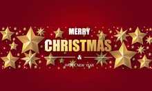 Merry Christmas And Happy New Year. Christmas Greeting Card In Red Background With Gold Stars And Red Stars.