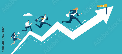 Fotografie, Obraz Run to the finish line Business vector illustration