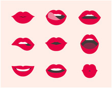 Red Female Lip Collection. Collection Of Woman Lips Expressed Differernt Emotions. Modern Flat Vector Illustration Of Sexy Woman's Lips. Smile, Kiss. Beauty Concept, Pop Art, Trendy Background.