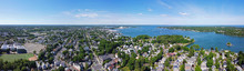 Aerial View Panorama Of Salem Historic City Center And Salem Harbor In Town Of Salem, Massachusetts MA, USA.