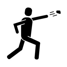 Man Protesting Throwing Rock Silhouette Style Icon