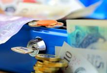 Cash Box And British Bank Note...