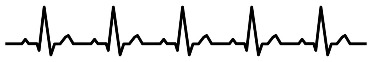 gz905 GrafikZeichnung - electrocardiogram / black heartbeat line icon. - medicine concept. - health care. - heart pulse cardiogram. - electrocardiography - simple isolated template - banner 6to1 g9894
