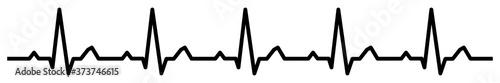 Fototapeta gz905 GrafikZeichnung - electrocardiogram / black heartbeat line icon. - medicine concept. - health care. - heart pulse cardiogram. - electrocardiography - simple isolated template - banner 6to1 g9894 obraz