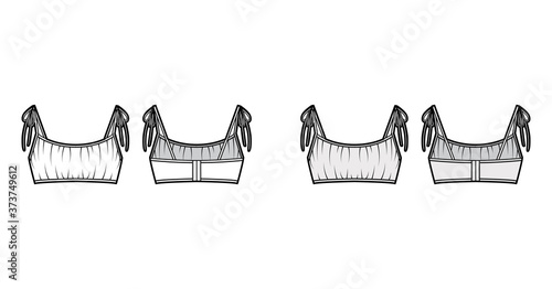 Photo Cropped gathered at the front Bra top technical fashion illustration with ties at shoulders, back hook fastenings