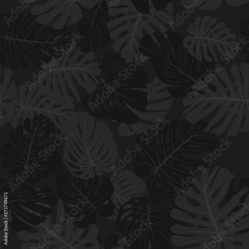 Tapeta czarna  camouflage-monstera-leaves-seamless-tropical-pattern-black-branches-and-foliage-exotic-camo-background-monochrome-texture-wallpaper-fabric-print-textile-design-vector