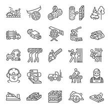 Logging, Sawmill, Icon Set. Lu...