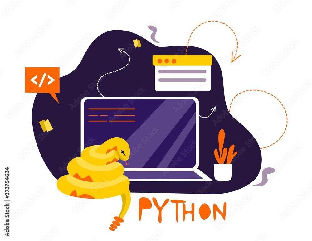 Fototapeta Python code language sign. Programming coding and developing concept. Software development. Programming language
