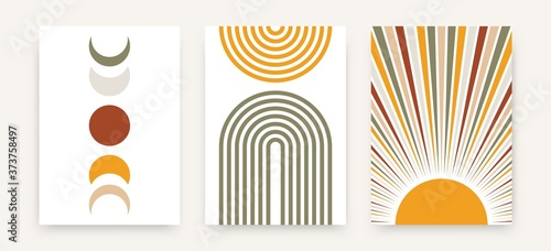 Fotografie, Obraz Abstract sun moon poster set