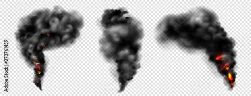 Black smoke with fire, dark fog clouds or steam trails Canvas-taulu