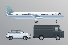 White Airplane And Car With Va...