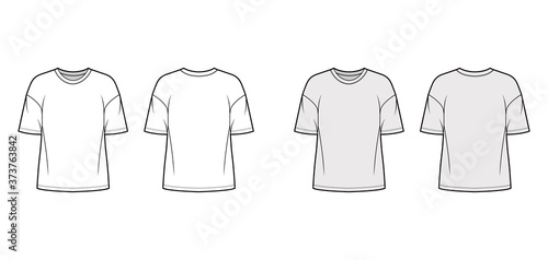 Fototapeta Cotton-jersey t-shirt technical fashion illustration with crew neckline, elbow sleeves, dropped shoulders