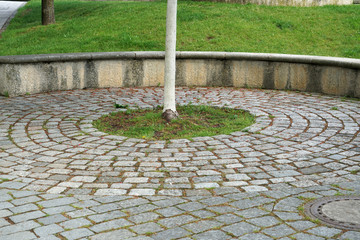 Gray cobblestone artistically laid in a park in Bavaria