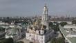 Kyiv Pechersk Lavra. Slow motion. Aerial view, flat, gray