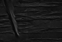Black Grey Paper Background Creased Crumpled Surface / Old Torn Ripped Posters Scary Grunge Textures