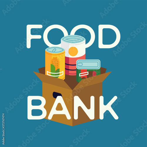 Food Bank simple concept illustration with canned non perishable foods and primitive lettering Fototapeta