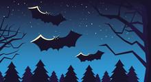 Halloween Card With Full Moon ...