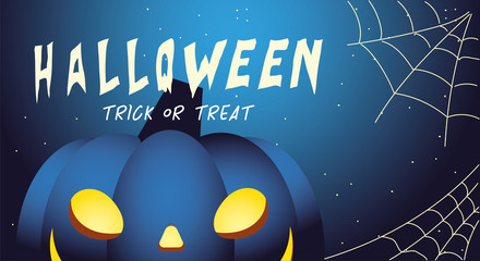 halloween night background with pumpkin and label trick or treat