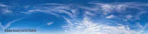 panorama of sky with clouds without ground, for easy use in 3D graphics and panorama for composites in aerial and ground spherical panoramas as a sky dome.