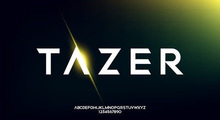 Tazer, an Abstract technology futuristic alphabet font. digital space typography vector illustration design