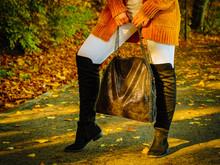 Woman Wearing Orange Autumn Ca...