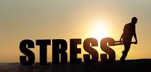Silhouette Men Pulling Stress Text Sunset.