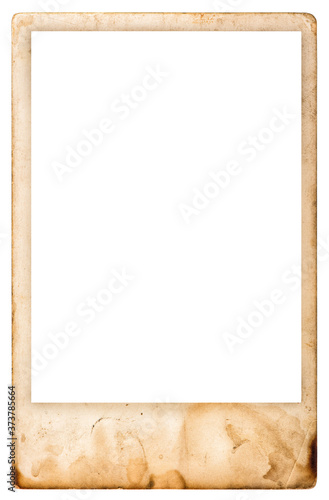 Vintage aged photo frame isolated white background Wall mural