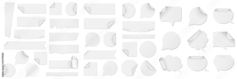 Fototapeta Bundle of white paper stickers of different shapes