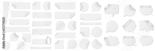 Obraz Bundle of white paper stickers of different shapes - fototapety do salonu