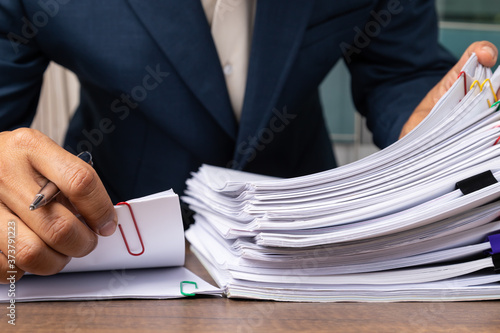 Carta da parati Stack overload document report papers, business paperless concept