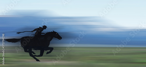 Pony Express Illustration - An illustration of a pony express rider with a blurr Canvas Print