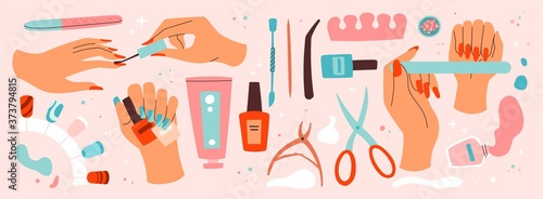 Fotomural Set of manicure and nail care icons with assorted tools and accessories, nail la