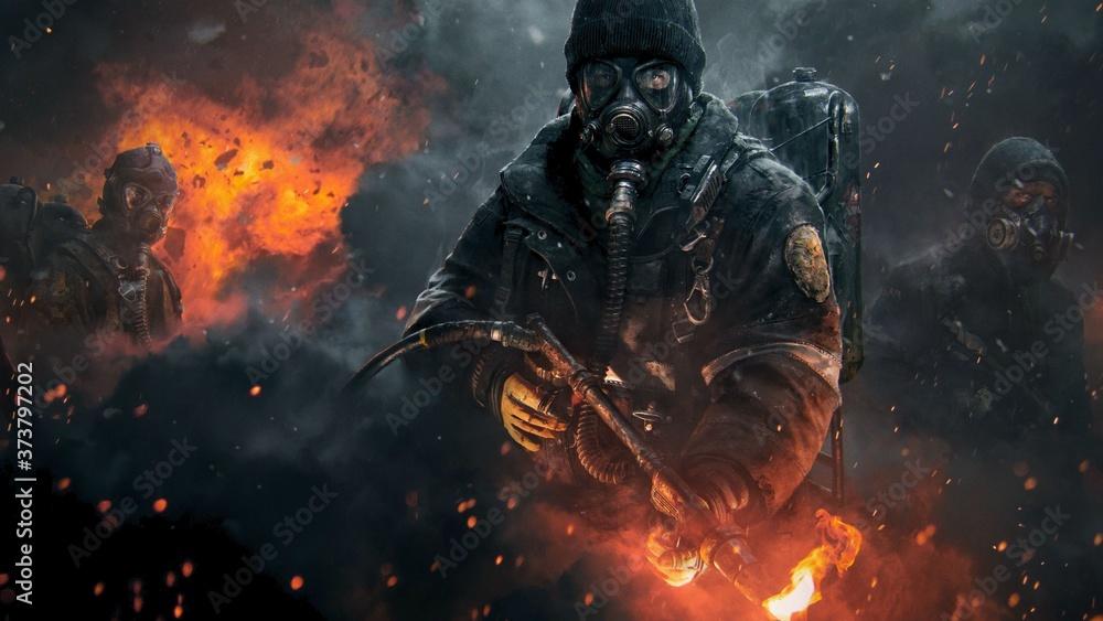 Fototapeta Batalla en llamas