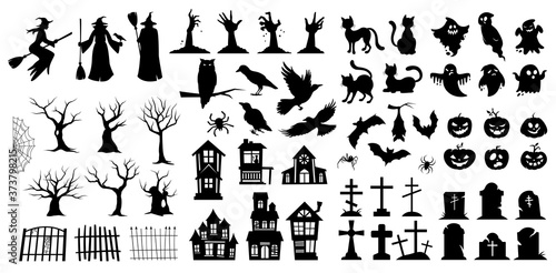 Obraz Very large set of black vector Halloween silhouettes with witches, birds, pumpkins, haunted houses, trees, ghosts and graves for use as design elements - fototapety do salonu