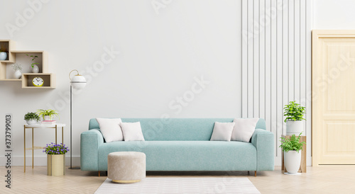 Bright and cozy modern living room interior have sofa and lamp with white wall background Poster Mural XXL