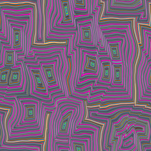 Funky Wave Shapes In Pink Yellow Green, Illusion Seamless Design