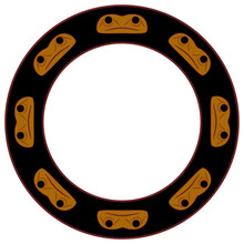 Round Ethnic Decor, Frame Or Texture With Native American Motifs Of Haida Indians. Stylized Face Of Frog Totem.