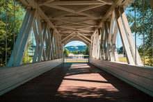 Inside The Weddle Bridge, A Covered Bridge In Sankey Park - Sweet Home, Oregon
