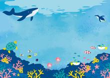 海底の魚たち イラスト 背景イラスト