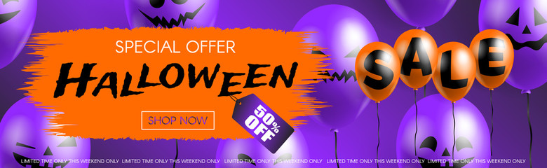 halloween sale special offer horizontal web banner with balloons on purple background vector illustration